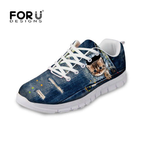 Cat Print Animal Mesh Running Shoes Women Ladies Sneakers Outdoor Sports Shoes