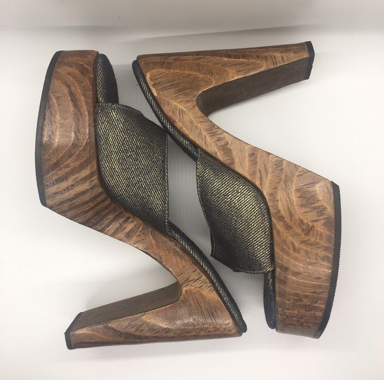 CANDIE'S Vintage 1990's Denim Platform Block Heel… - image 9