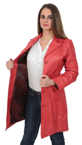 Womens RED Trench Leather Coat 3//4 Long Cynthia Classic Macs Fitted JACKET new