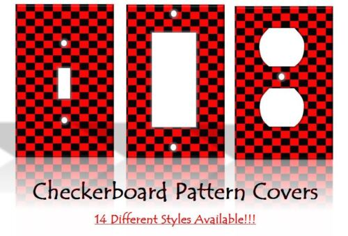 Checkers Games Checkerboard Red Black Light Switch Covers Home Decor Outlet