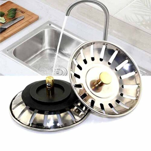 2X Stainless Steel Replacement Kitchen Sink Strainer Drainer Waste Plugs 80mm