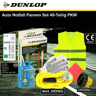 Dunlop Auto Emergenza I Guasti Set 40 Pezzi Cavo Per Rimorchio Auto Gilet Sicurezza-te It-it Materiali Di Alta Qualità Al 100%
