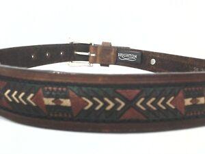 BRIGHTON-Belt-Brown-Leather-SOUTHWESTERN-Silver-Medallions-USA-Womens-sz-26-69