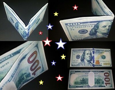 New design HUNDRED DOLLAR BILL canvas BI-FOLD WALLET  ✖ US SELLER ✖ great gift