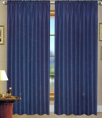 SOLID SHEER GROMMET FAUX  SILK WINDOW CURTAIN DRAPES PANEL , ROD POCKET