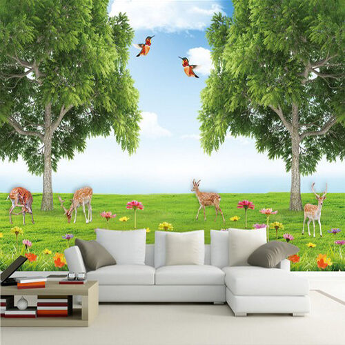 3D Grassland birds deer WallPaper Murals Wall Print Decal Wall Deco AJ WALLPAPER