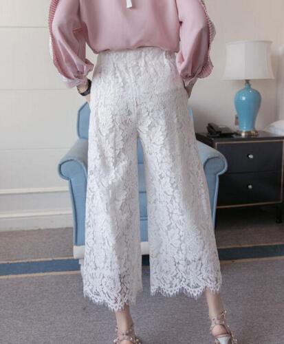 5XL Womens Lace Wide Leg Casual Pants Loose High Waist Black White Fashion Ske15