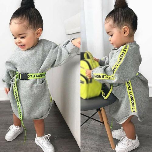 Newborn Kids Baby Girls Long Sleeve Letter Pocket Fashion Belt Princess Dress