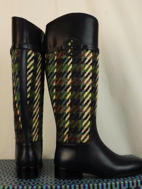 53f0c9d89 Tory Burch Miller Bright Navy Green Dogtooth Tweed Leather Reva Riding BOOTS  8 for sale online