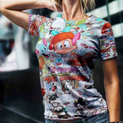 Pinky and The Brain Breaking Bad  funny t shirts Women/'s 3//4 Short sleeve 677