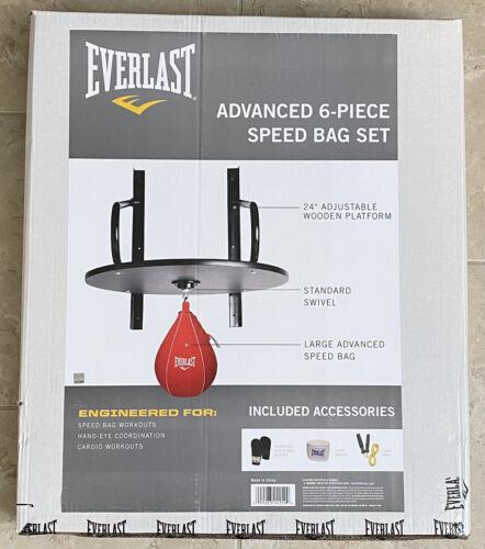Everlast Advanced 6 Piece Speed Bag Set Platform Kit Gloves New Ships Free