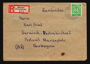 Germany-1947-Munster-Registered-Cover-84pf-Green-Z14853