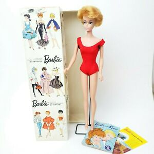 Vintage-Barbie-850-Platinum-Blonde-Bubblecut-Doll-w-Original-Box-Stand-amp-Book