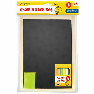 A4 Kids Childrens Chalkboard Wooden Frame with Chalks and Eraser Learn To Write