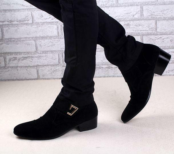 Men's dress point toe shoes height elevator hairdresser high top ankle boots