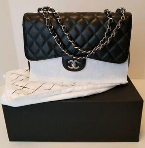 29824fa5f19 Image is loading CHANEL-Black-Caviar-Leather-Jumbo-Classic-Single-Flap-