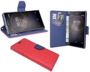 Style-Livre-Telephone-Portable-Cas-Sac-Etui-Etui-en-Rouge-Bleu-de-Sony-Xperia-L2