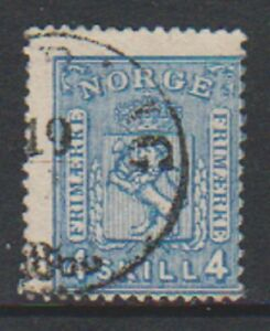 Norway-1867-4sk-Greenish-Blue-stamp-Used-SG-28