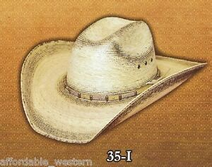 35-I-Western-COWBOY-HAT-Burnt-Toast-PALM-LEAF-Straw-4-034-Brim-CATTLEMAN-Rodeo