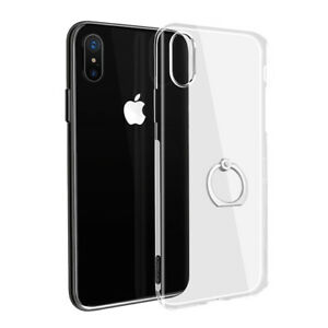 iPhone-X-Transparent-Case-Clear-Flexible-Cover-with-360-Ring-Finger-Holder