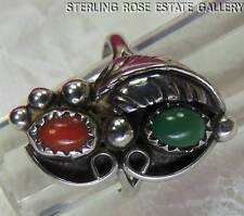 """VINTAGE 7/8"""" CORAL and TURQUOISE Hand Crafted Sterling Silver 0.925 RING size 6"""