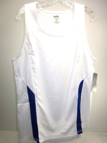 EASTBAY 2-COLOR RUN SINGLET WHITE// BLUE SIZE MEDIUM POLYESTER 8137207 DISCOLORED