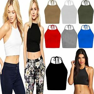 Womens-Halter-Neck-Tie-Back-Crop-Top-Ladies-Sleeveless-Cami-Fancy-Strap-Blouse