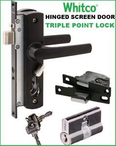 Whitco Security Screen Door Lock Tasman MK2 Black + Multi ...