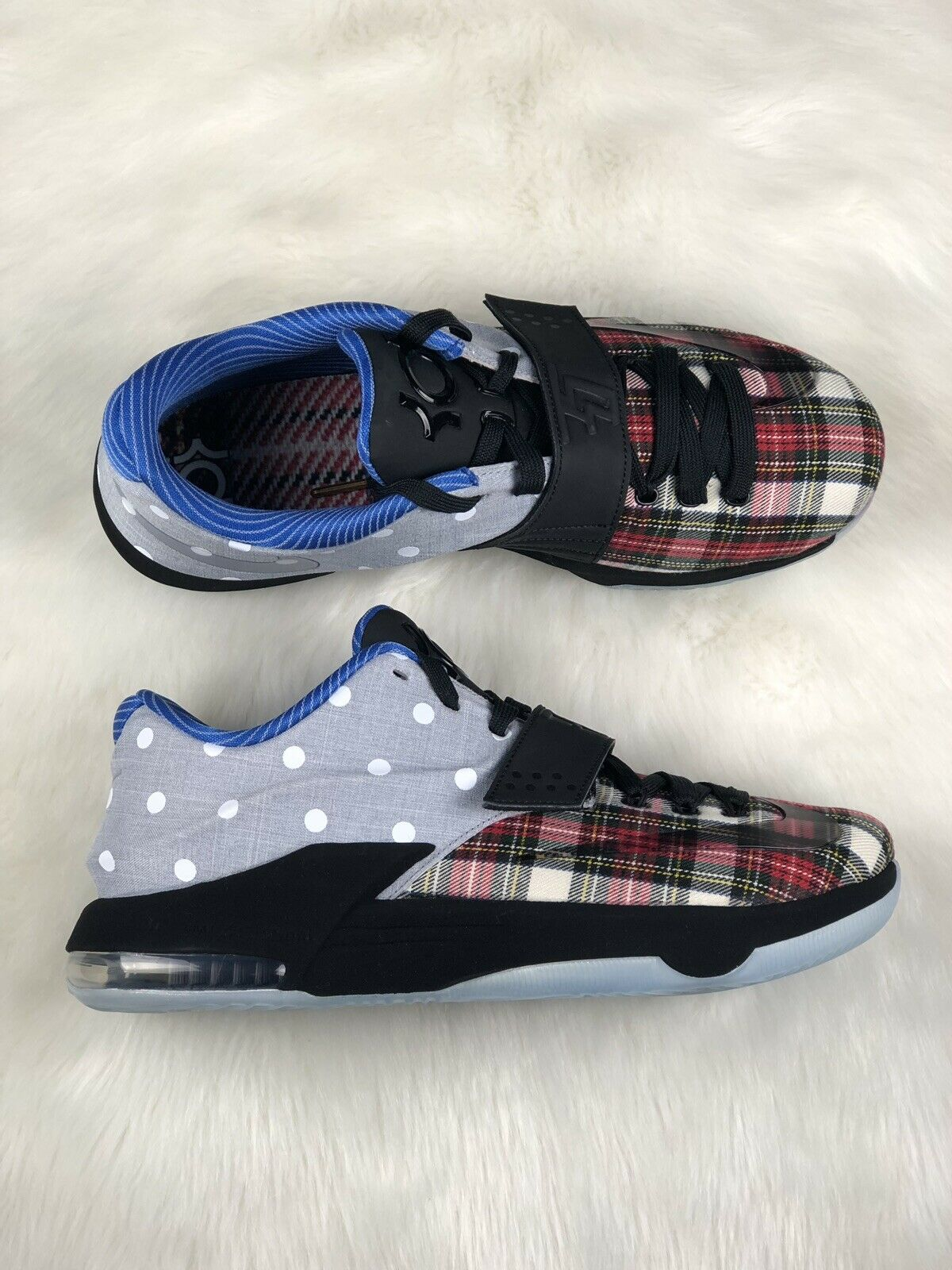 """KD VII 7 EXT EXT EXT QS """"Plaid and Polka Dot"""" Nike 726439-600 Size 10 30585a"""