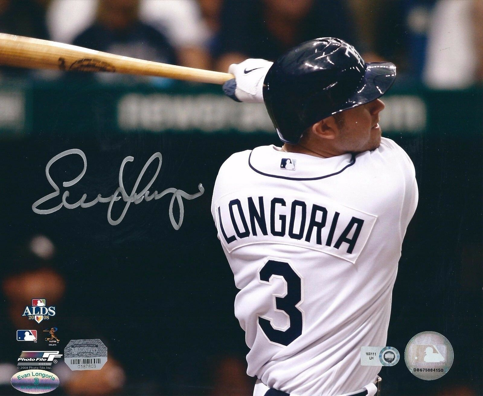 Evan Longoria Signed Tampa Bay Rays Baseball 8x10 Photo MLB COA