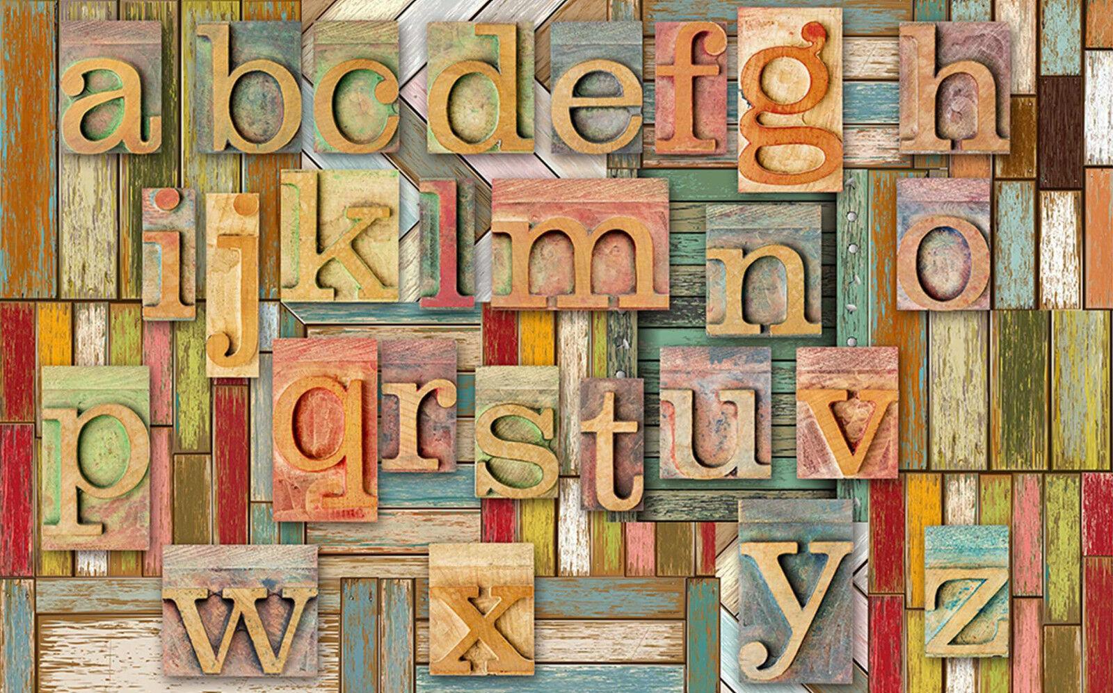 3D Bois Alphabets Anglais 7 Décor Décor Décor Mural Murale De Mur De Cuisine AJ WALLPAPER FR | Merveilleux  84804c