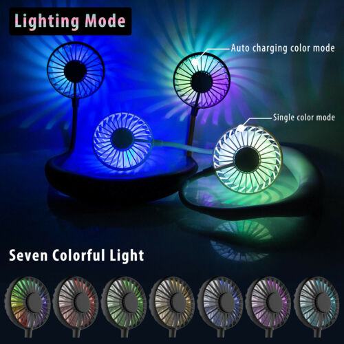 Portable USB Rechargeable LED Lazy Fan Hanging Neck Mini Cooling Sports Rest Fan