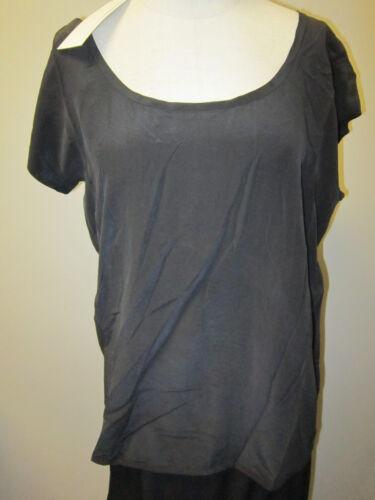 Eileen Fisher Scoopneck Box Top Silk Crepe De Chine Black NWT $138