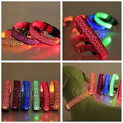 Leopard LED Light Up Pet Cat Dog Puppy Neck Collar Night Flashing Safety New