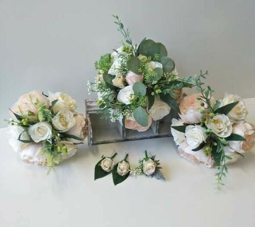 SILK WEDDING BOUQUETS BEIGE IVORY PEONY BERRY BLUE GUM RUSTIC ROSES BLUSH SET