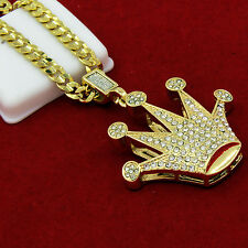 "Men's Gold Plated Iced Dome Crown Hip-Hop Pendant 24"" Cuban Chain Necklace D646"