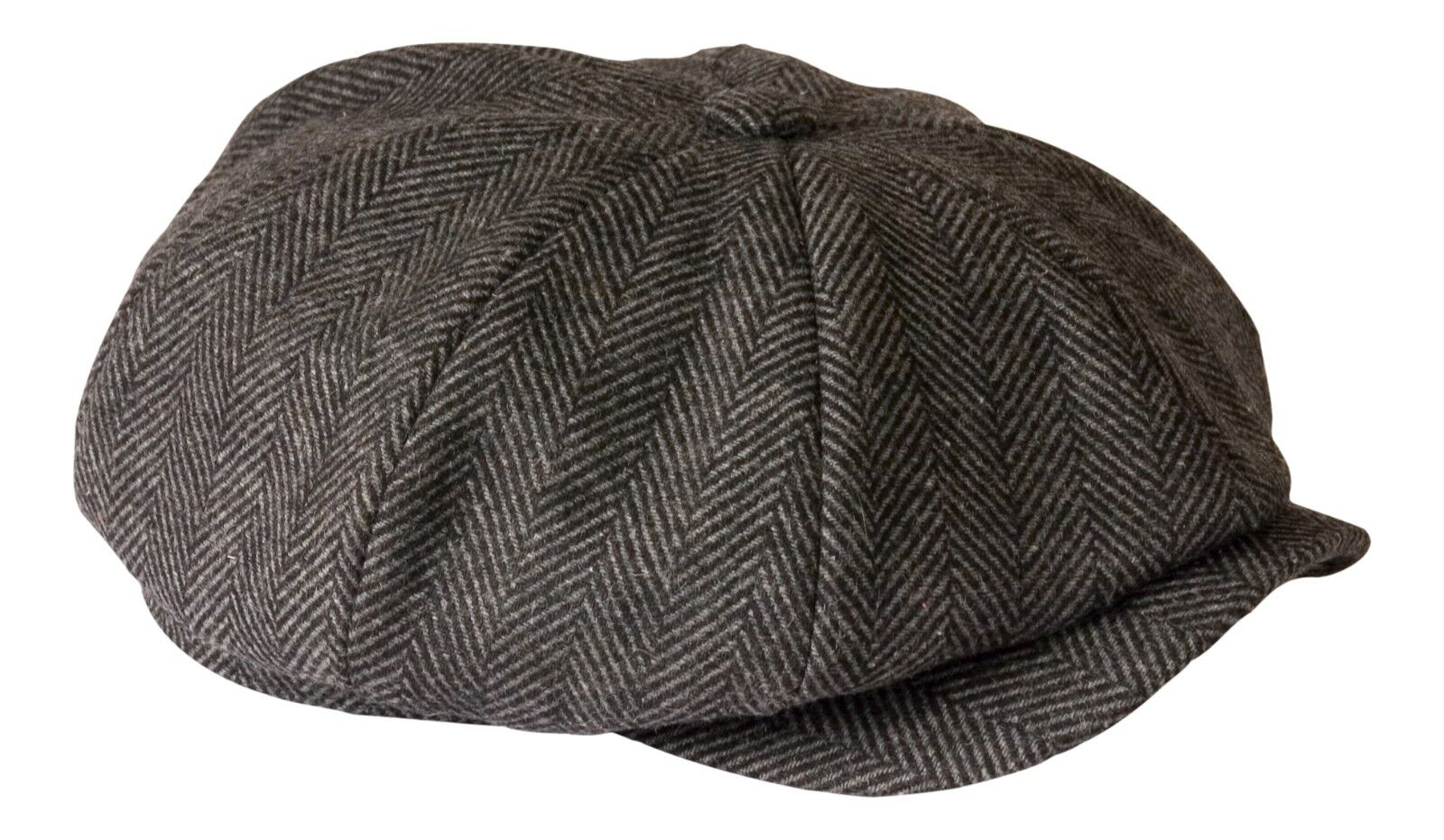 46eee4323e025 shelby  Grey Herringbone Wool Newsboy Button Top Flat Cap by Gamble ...