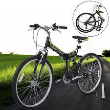 "New 26"" Folding 6 Speed Mountain Bike Bicycle Shimano School Sport Black"