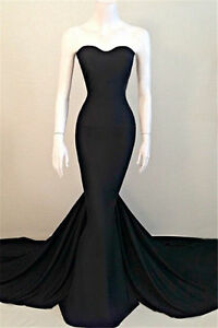 Black Satin Mermaid Long Formal Evening Dress Prom Pageant Party Dress Size 2-16