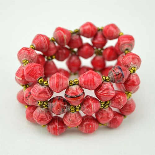 African Jewelry Uganda Recycled Hand Rolled Paper Bead Elastic Bracelet 531-114