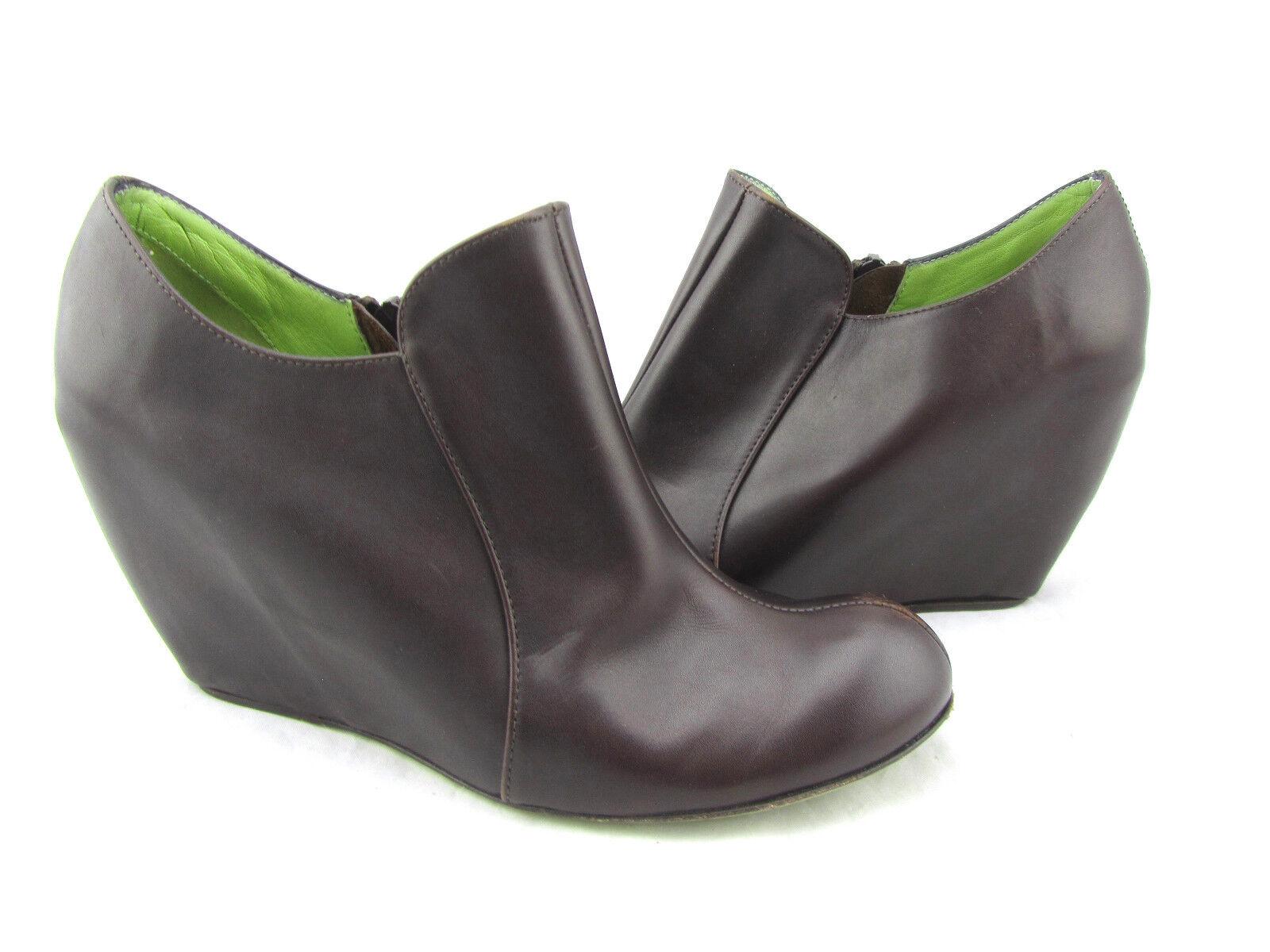 268 LEOPOLDO GIORDANO GIORDANO GIORDANO Oregon braun Leather Ankle Wedges Stiefelies Stiefel schuhe 7 38 3d97c3