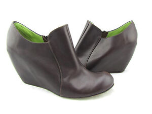 $268 LEOPOLDO GIORDANO Oregon Brown Leather Ankle Wedges Booties Boot Shoes 7 38
