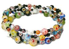 Boho Gypsy Hippy Millefiori Floral Glass Beads Memory Wire 4 Row Bracelet