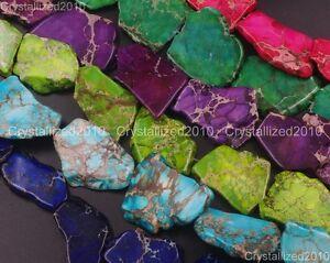 Natural-Sea-Sediment-Jasper-Gemstone-25-40mm-Freeformed-Nugget-Sliced-Beads-16-039-039
