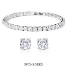 "Cubic Zirconia CZ Stud Solitaire Earrings Tennis Bracelet 7"" Wedding Bridal Set"
