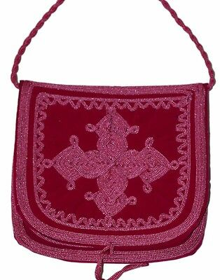 Moroccan Pouch Shoulder Bag Velvet Handmade Embroidered Purse Medium Gray