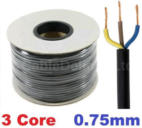 3 Core 0.75mm 6 Amp PVC Flexible Cable 1m 100m Round Flex Electrical Wire BLACK