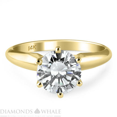 0.45 CT Enhanced Diamond Ring VS1 F Round Cut 18K Yellow gold Engagement Ring