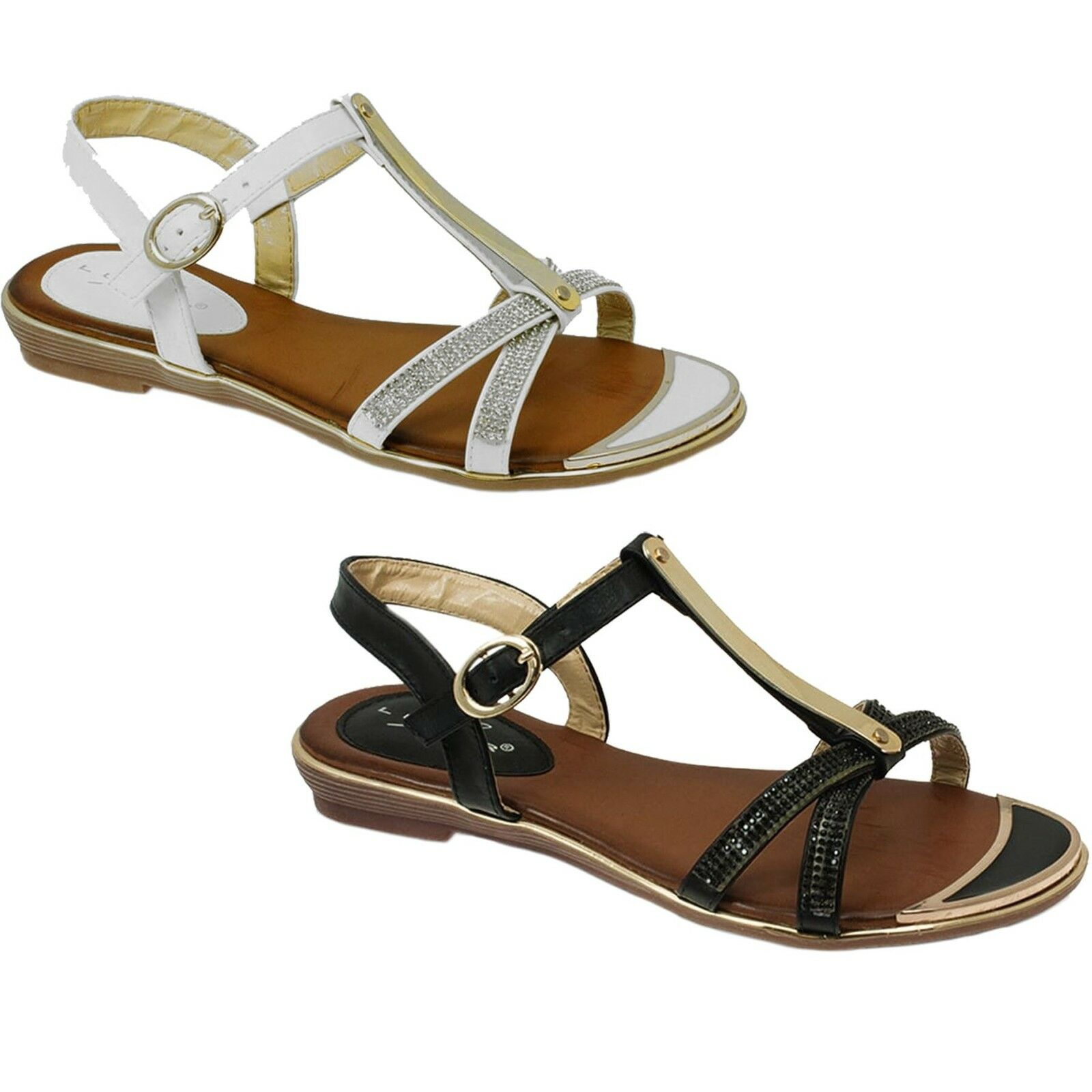 JLH831 Bindi Womens Diamante gold Plated Strappy Low Heel Padded Sandals