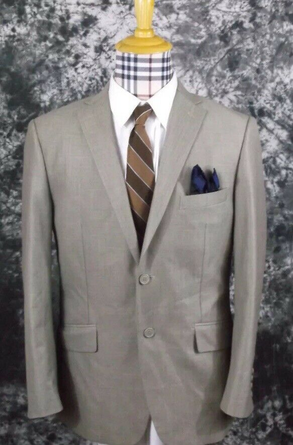 Mens 40R Cooper & Nelson 2 button dual vent tan sport coat with hankey